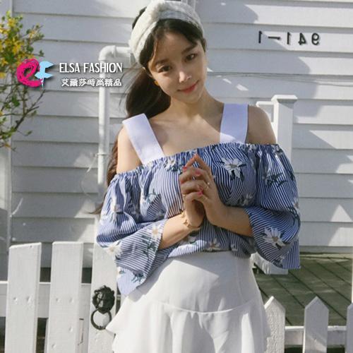 一字領上衣 性感女孩可愛花朵一字領露肩上衣 艾爾莎【TGK5233】