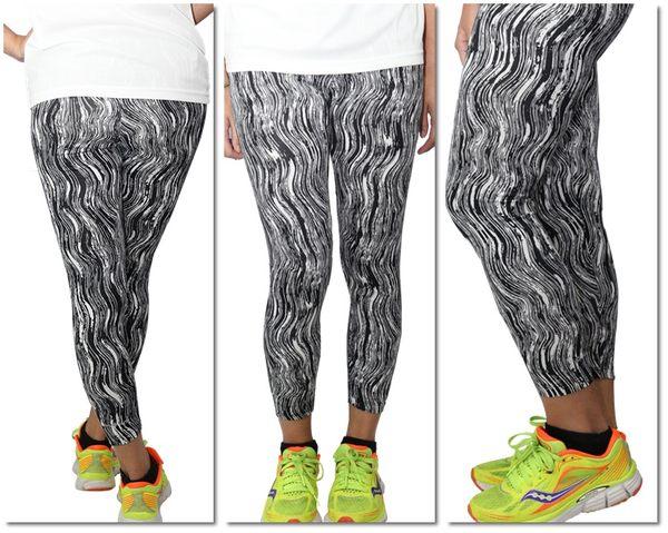 FIVE UP運動緊身長褲女黑白水墨條紋舒適彈性台灣製造