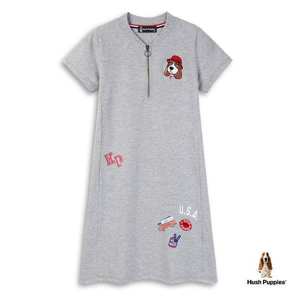 Hush Puppies 吸濕排汗洋裝 女裝立領趣味圖騰刺繡狗洋裝