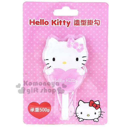 〔小禮堂〕Hello Kitty 貼式造型掛勾《粉.抱愛心.泡殼》耐重500g 8021057-20001