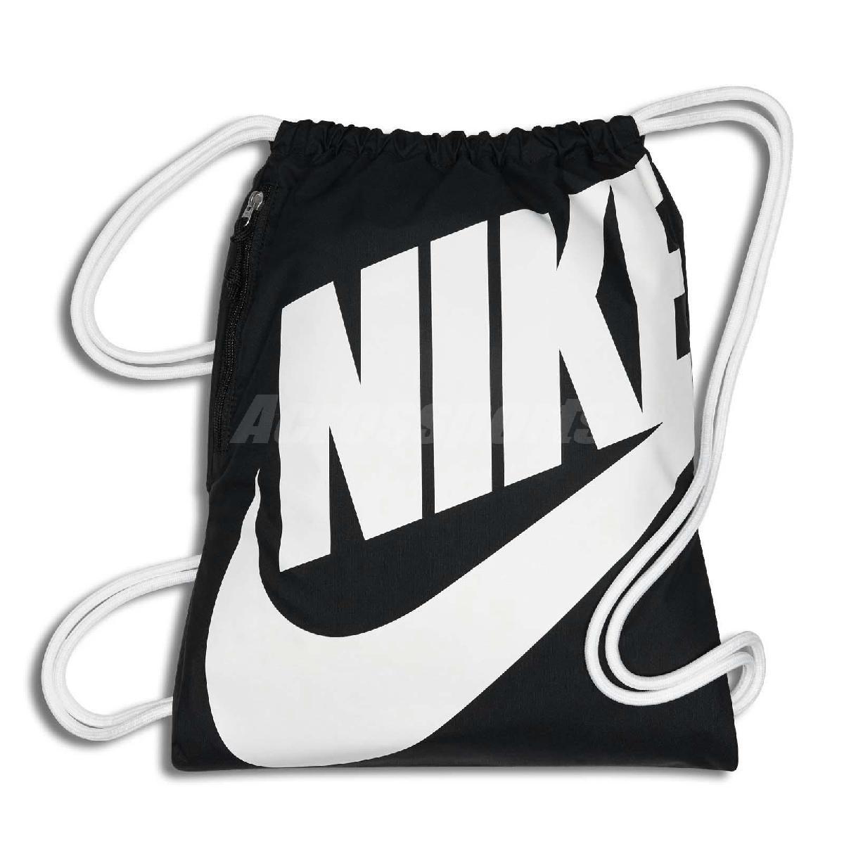 Nike 束口袋 HERITAGE GMSK 黑 白 拉鍊 後背袋 男女款【PUMP306】 BA5351-011