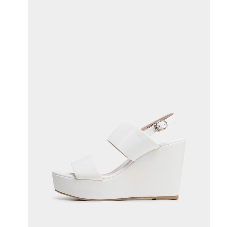 真皮涼鞋-R&BB手工羊皮製簡約韓風俐落顯瘦寬帶一字船台楔型高跟鞋-白黑色
