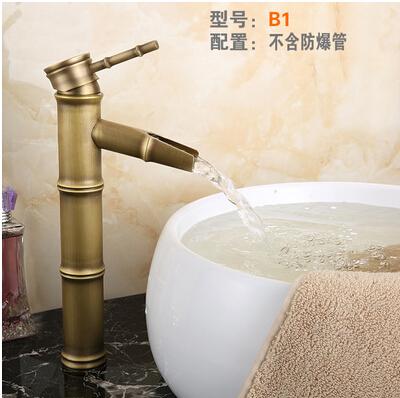 仿古龍頭歐式全銅仿古水龍頭浴室冷熱藝術台盆竹節龍頭B1