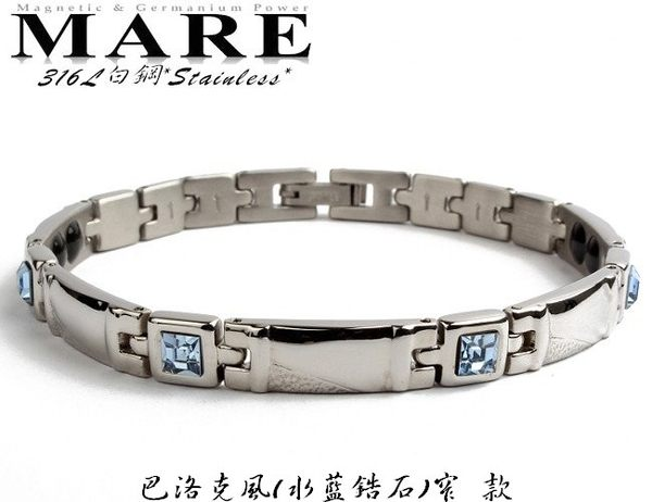MARE-316L白鋼系列:巴洛克風水藍鋯石窄款