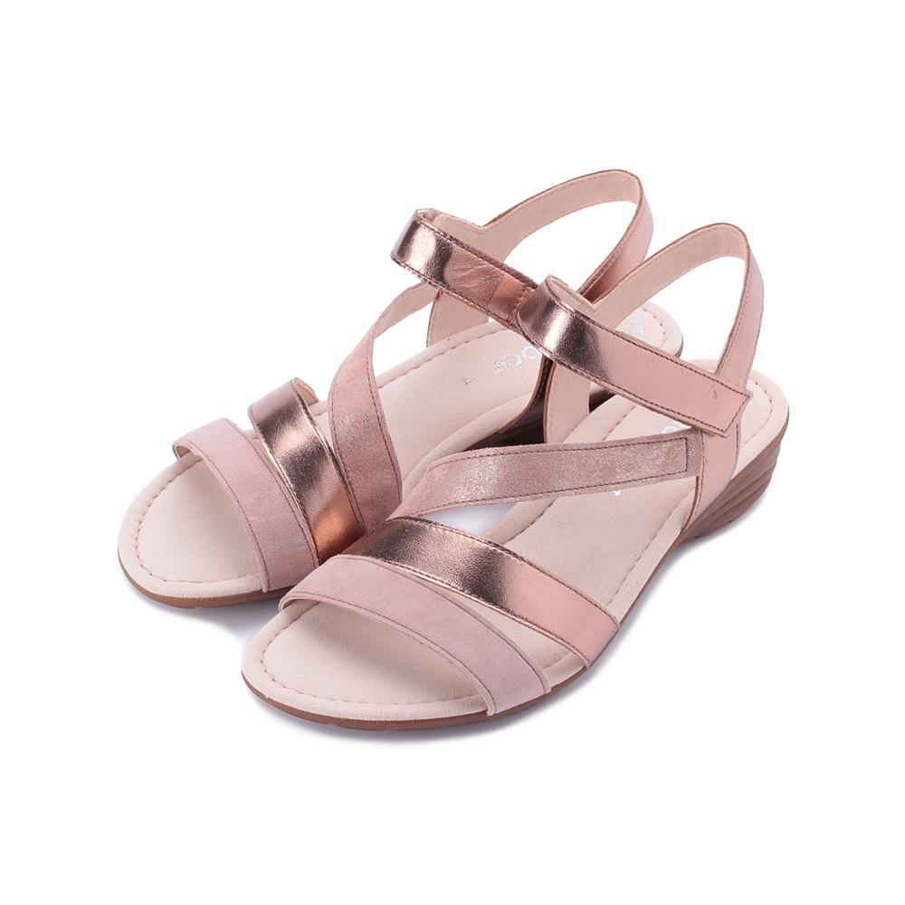 德國 GABOR 亮蔥雙色繞帶涼鞋 粉金 24.551.14 女鞋