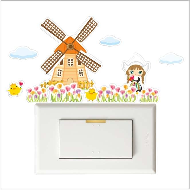彩色開關小壁貼荷蘭風車壁貼防水貼紙汽機車貼紙10.2cm x 10cm