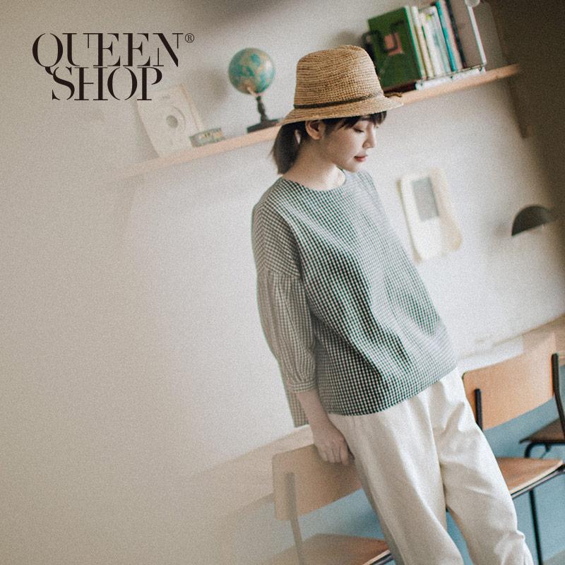 Queen Shop【01096148】小格紋蓬蓬袖上衣*現+預*