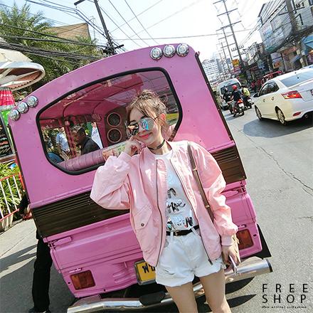 Free Shop粉色MA-1口袋拉鍊空軍風衣外套QCCYT1003