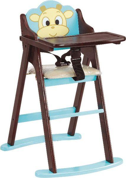 HY-766-2韓式招財牛折合寶寶椅淺藍色胡桃色