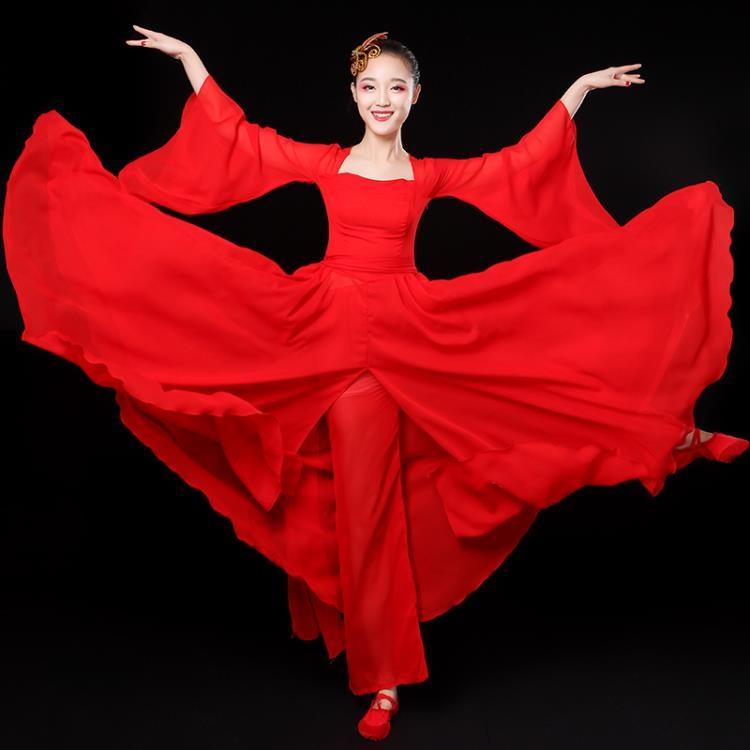 古典舞演出服女夏飄逸現代改良水袖舞蹈漢服襦裙寫真古裝服裝成人