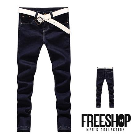 牛仔長褲Free Shop QMD6862日韓系基本款精緻車縫後側口袋文字造型修身素面牛仔長褲有大尺碼