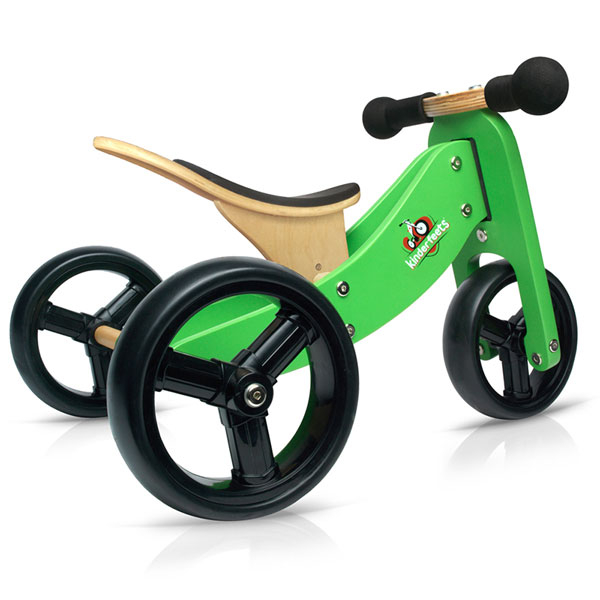 【買就送防護帽】Kinderfeets 美國木製平衡滑步車/學步車-初心者三輪系列 (綠俠客)