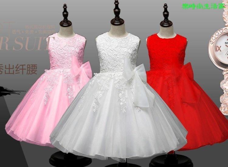 2017兒童禮服裙公主女童連衣裙白色花童婚紗裙蕾絲蓬蓬裙表演裙服