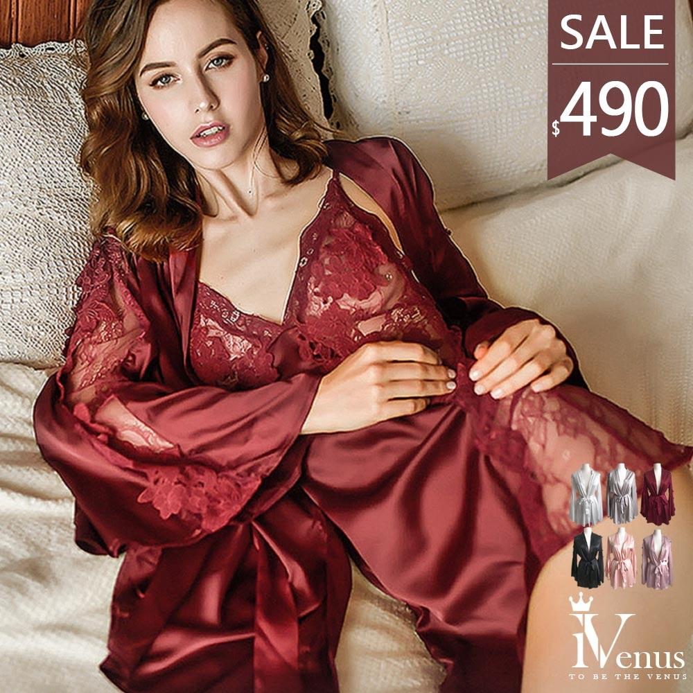 睡衣-純真香戀外袍(睡衣可加購)性感法式緞面不勾紗透膚蕾絲綁帶居家睡袍 玩美維納斯 平價睡衣