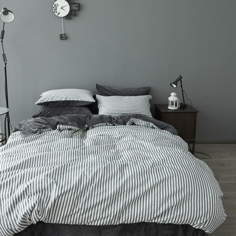 法蘭絨雙人床包自由深灰刷毛5尺雙人床包組床包被套枕套兩用被毯ikea床單精梳棉佛你