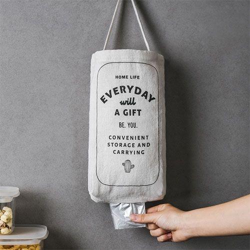 麻料塑膠袋收納袋 廚房垃圾袋儲物收納袋 壁掛式雜物袋