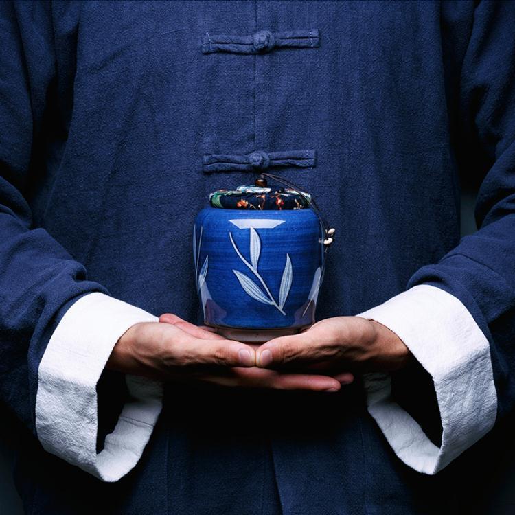 仿古青花瓷手繪裝茶葉罐景德鎮陶瓷茶罐密封罐普洱罐大號存罐非凡