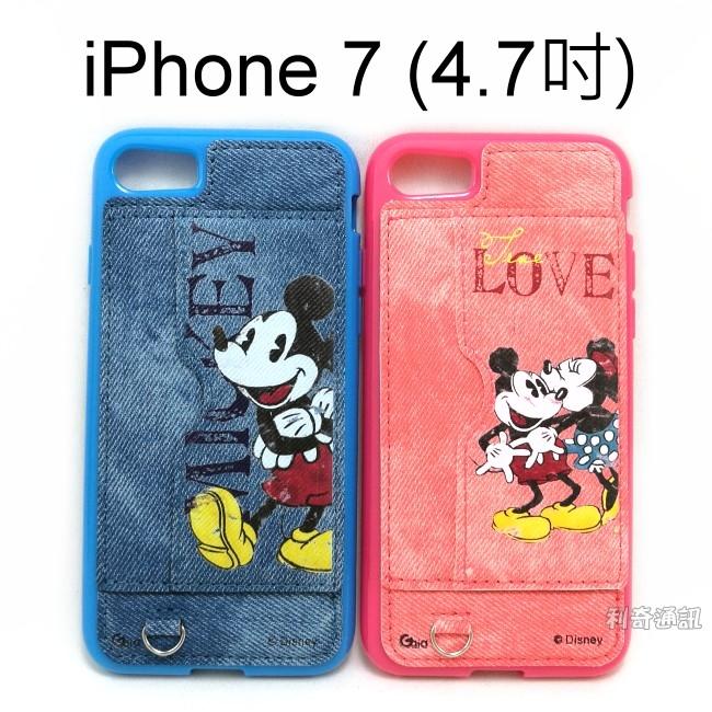 迪士尼立架彩繪牛仔布保護殼米奇米妮iPhone 7 iPhone 8 4.7吋Disney正版授權