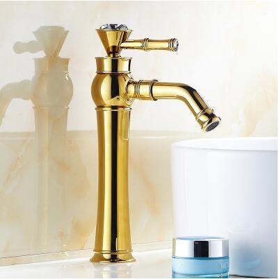 全銅歐式仿古水龍頭復古龍頭衛浴龍頭面盆龍頭烤漆龍頭360度金色高款