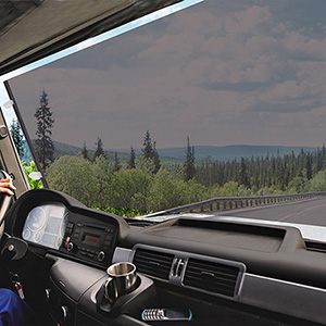 CARBUFF車痴大型車用捲式遮陽簾黑70X140cm MH-4038卡車遊覽車巴士車適用
