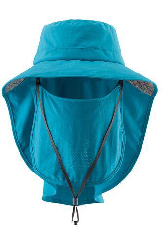 荒野WILDLAND男女抗UV可脫式遮陽帽防曬工作帽登山健行休閒帽遮臉大圓盤帽W1030-46土耳其藍