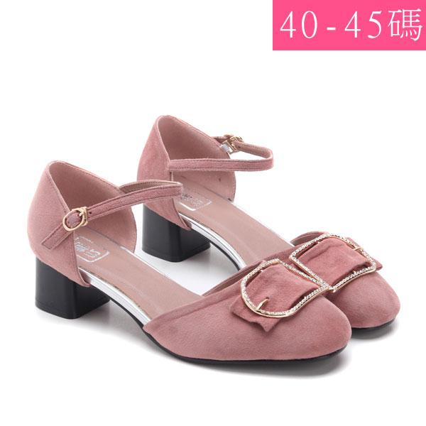 中大尺碼女鞋低調奢華羊絨水鑽粗跟鞋涼鞋40-45碼172巷鞋舖TL60125