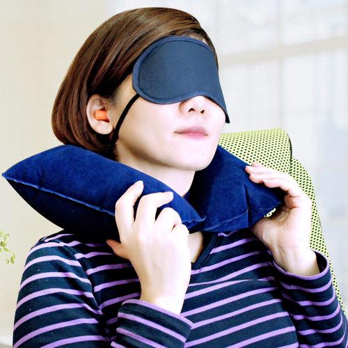 旅行優眠組眼罩頸枕耳塞三合一出國旅遊搭飛機L-747百貨通