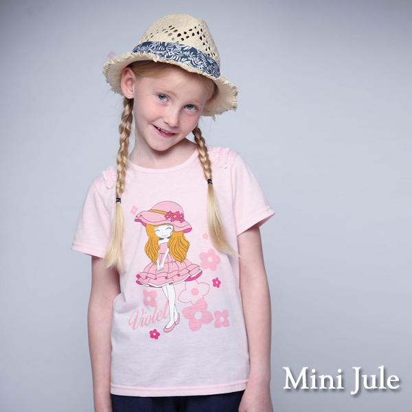 童裝 上衣 粉紅帽子女孩花邊造型袖/果實點點大樹竹節棉T(共2款) Azio Kids 美國派 童裝