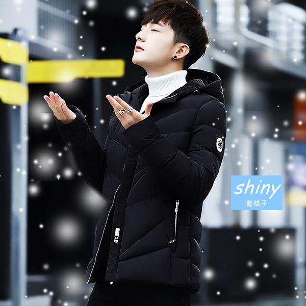 【Y192】shiny藍格子-簡約保暖.冬季男裝加厚短款羽絨棉襖外套