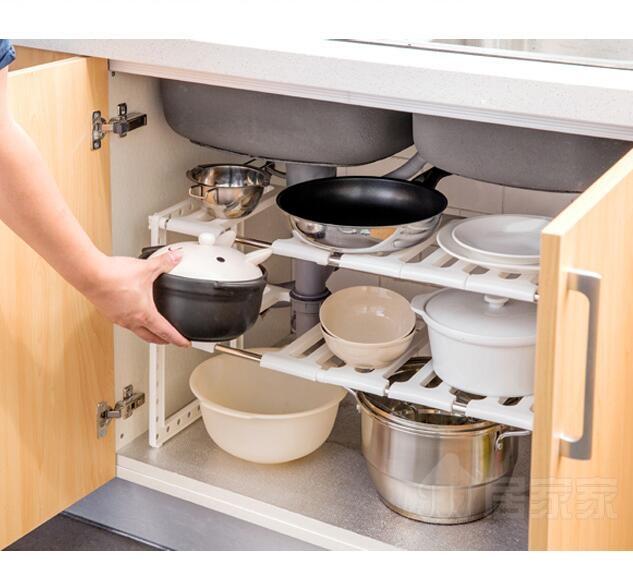 不銹鋼水槽下架廚房置物架多層伸縮