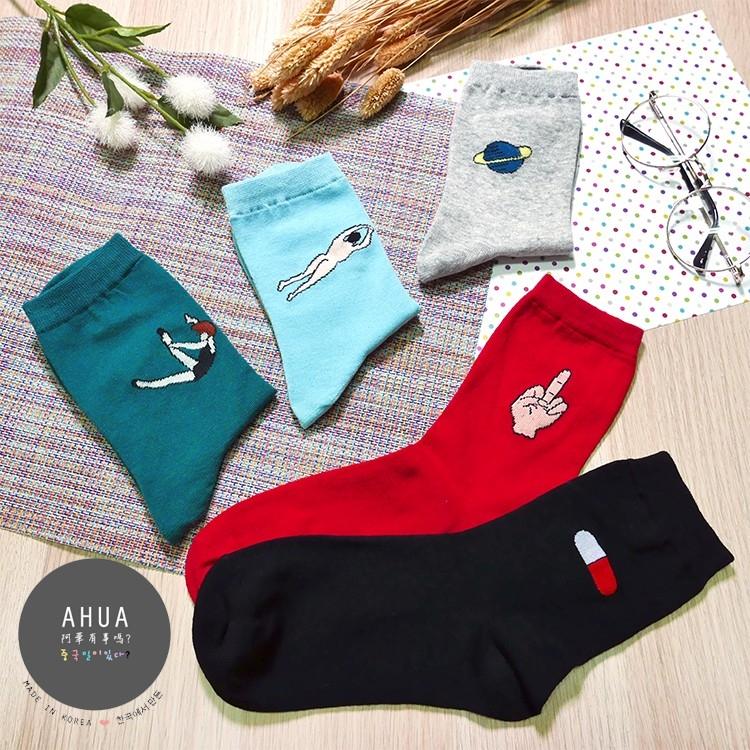 韓版夢境系列圖案中筒襪子長襪短襪隱形襪可愛襪子文青情侶阿華有事嗎