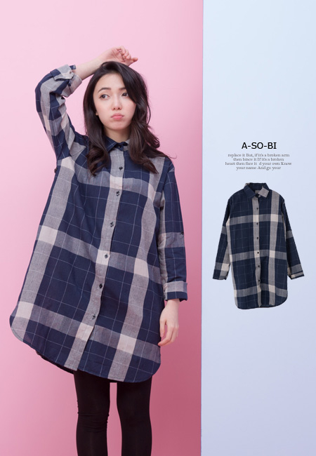 A-SO-BI韓系-藍色調白細線格紋長版襯衫洋裝【R50219-12】