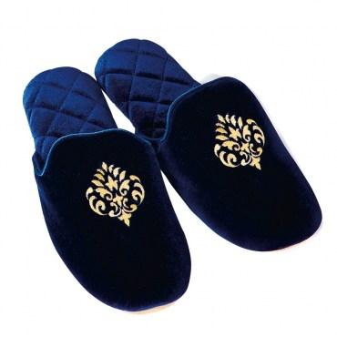 HOLA HOLA home刺繡圖騰布拖鞋藍色L