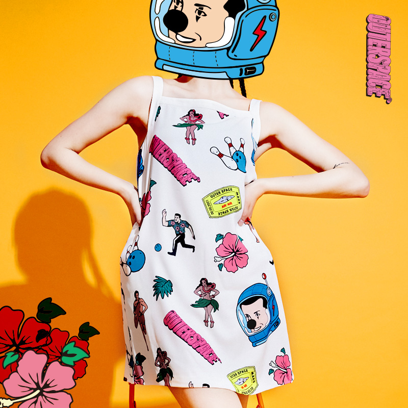 OUTER SPACE 小丑去渡假洋裝(夏日白)