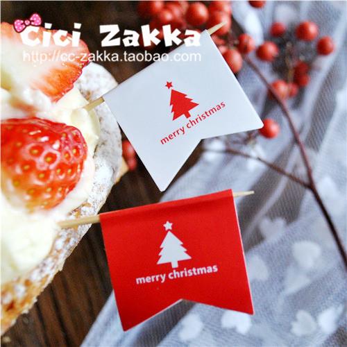 8入紅白聖誕旗幟耶誕貼紙包裝貼紙交換禮物貼