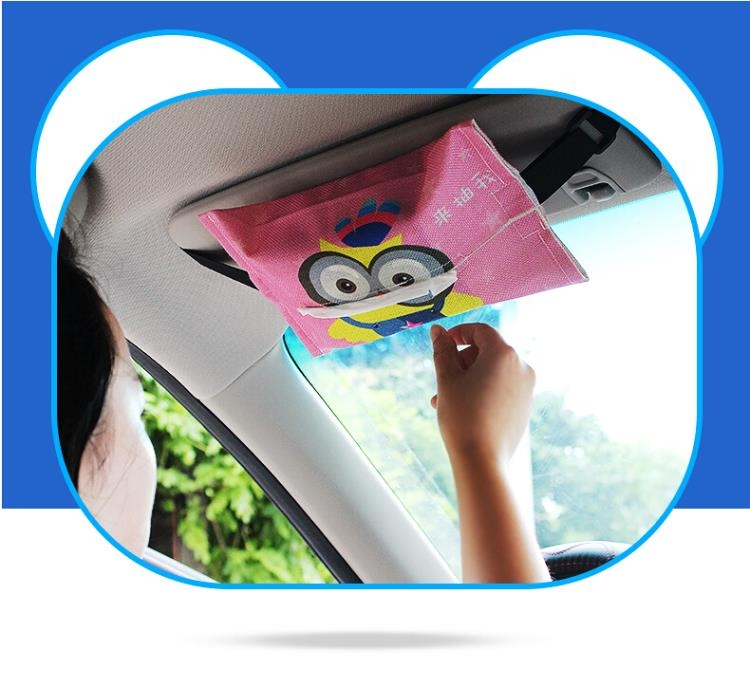 汽車面紙盒背掛式遮陽板創意可愛款【大頑家】