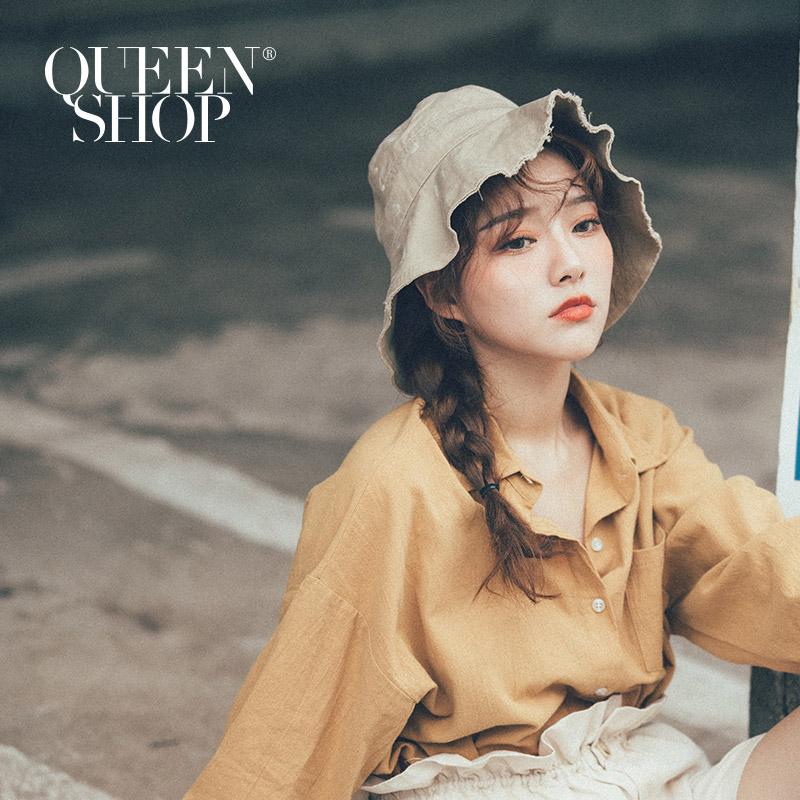 Queen Shop【07020557】水洗抽鬚漁夫帽 兩色售*現+預*