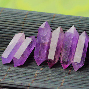 特價紫水晶柱紫晶簇粉晶雙尖水晶原石把件DIY