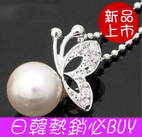 韓國宋慧喬同款珍珠蝴蝶鑲鑽項鏈韓國短款B4015