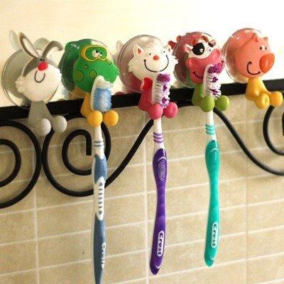 創意可愛卡通動物家族強力吸盤牙膏牙刷架款式隨機AE04093