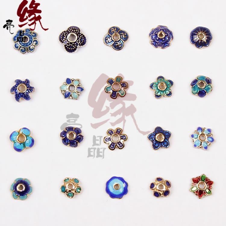 [超豐國際]DIY半成品手鏈項鏈飾品配件景泰藍工藝花托手工配1入