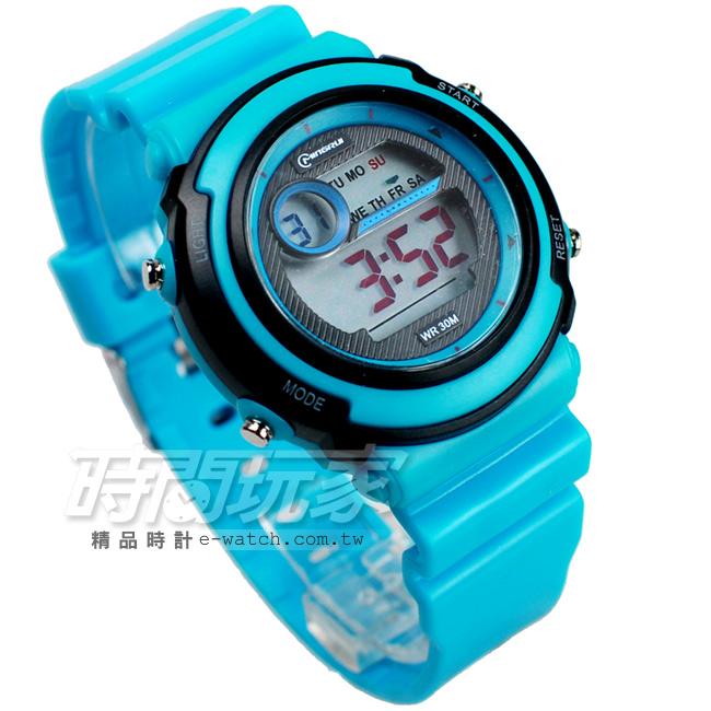 MINGRUI雙色配多功能計時腕錶學生電子錶兒童手錶女錶鬧鈴日期冷光照明MR8567淺藍