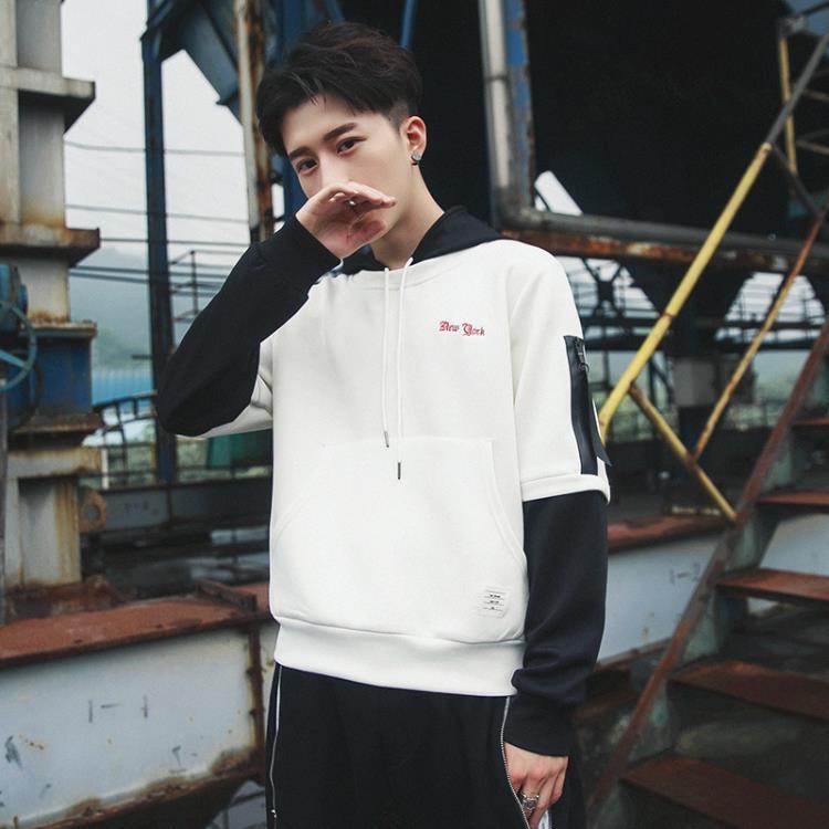 連帽長袖t恤假兩件男韓版潮流外穿青少年體恤寬鬆個性男上衣
