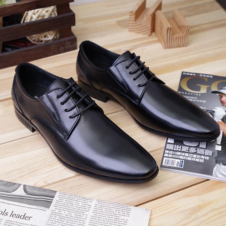 牛津鞋男士復古英倫風真皮牛津鞋素色真皮男鞋復古休閒鞋黑色Life Beauty