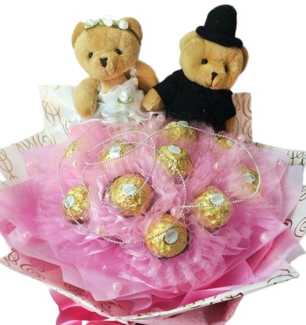 娃娃屋樂園~我的最愛-11朵金莎巧克力對熊花束每束700元情人節花束婚禮小物情人節禮物