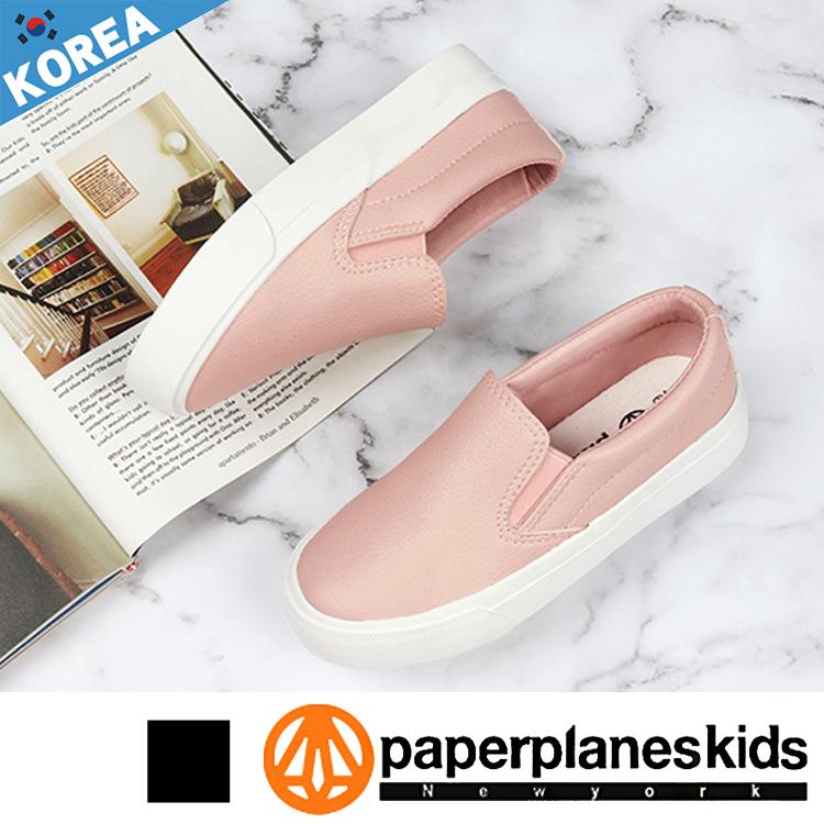 PAPERPLANES 紙飛機 童鞋 韓國空運 森林女孩 撞色 懶人 皮革 樂福鞋 童鞋【B7907012】2色