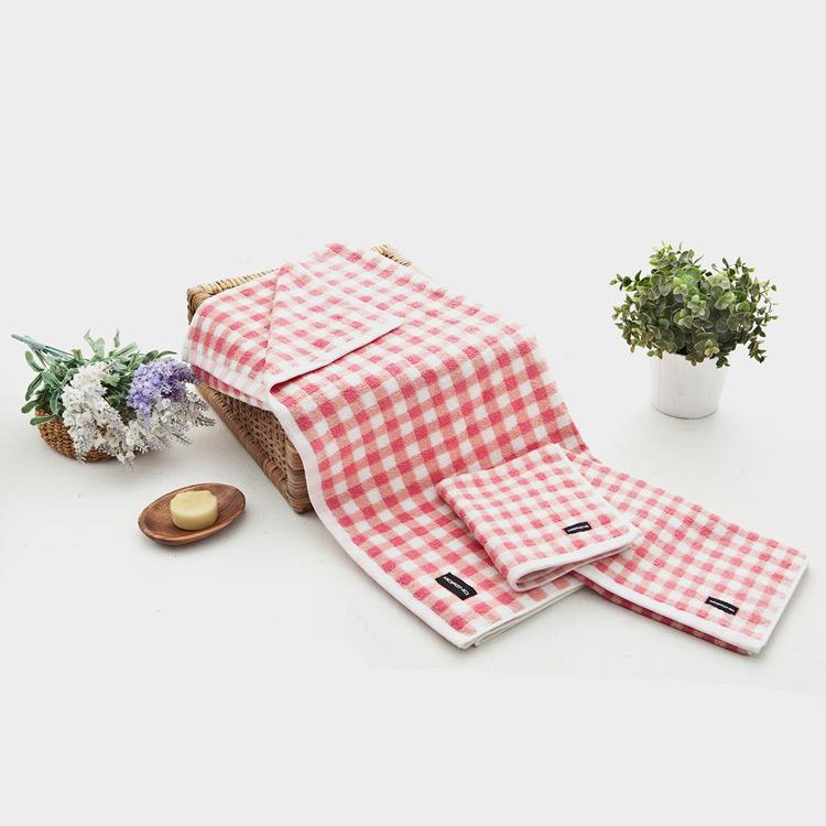 【MORINO】美國棉方格漸層方巾