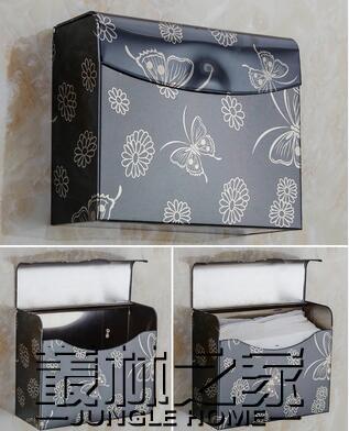 不銹鋼衛生間廁所紙巾盒免打孔抽紙卷紙筒創意防水紙巾架