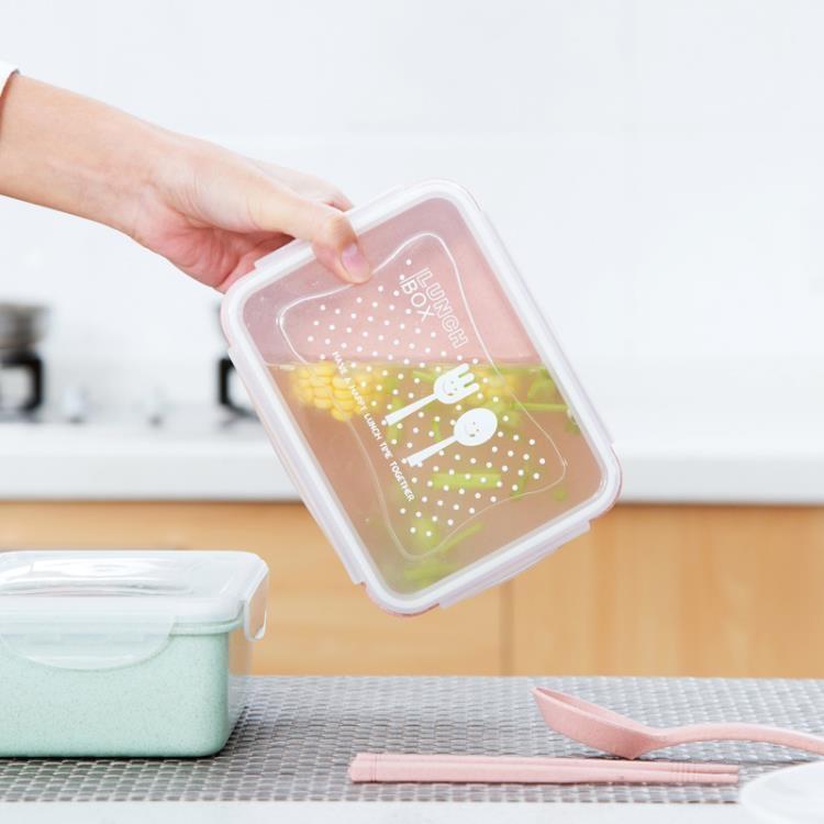 [超豐國際]小麥秸稈飯盒微波爐便當盒套裝冰箱水果保鮮盒長方形收納盒
