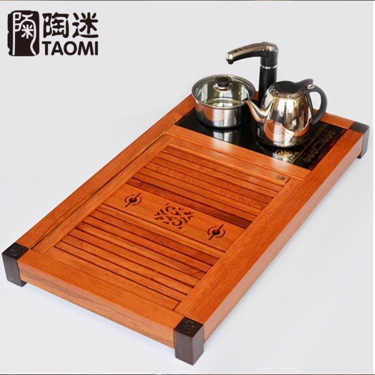 超豐國際花梨木茶盤實木帶電磁爐四合一排水整套功夫茶具茶盤1入